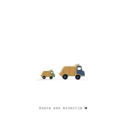 Nadine Illustraties Kaart - Hoera een broertje - Trucks