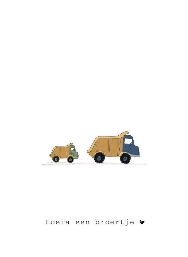 Kaart - Hoera een broertje - Trucks - A0032