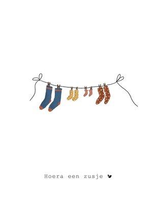 Nadine Illustraties Kaart - Hoera een zusje - Waslijn