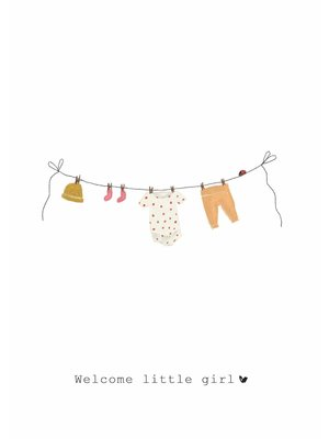 Nadine Illustraties Kaart - Welcome little girl - Waslijn