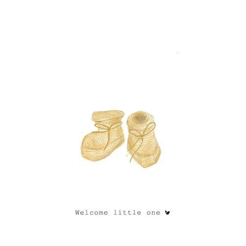 Nadine Illustraties Kaart - Welcome little one - Schoentjes