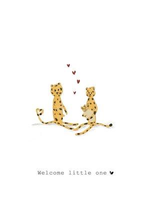 Nadine Illustraties Kaart - Welcome little one - Panter