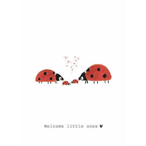 Nadine Illustraties Kaart - Welcome little ones - Lieveheersbeestjes