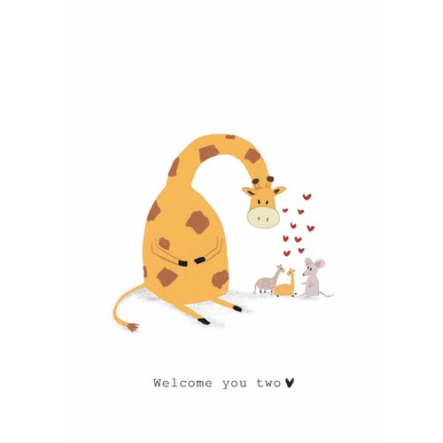 Nadine Illustraties Kaart - Welcome you two - Giraffe en Muis
