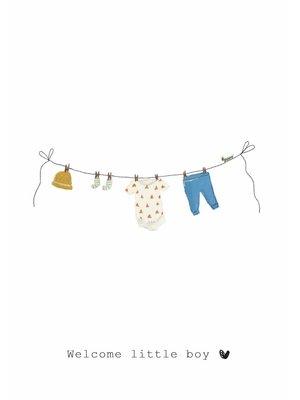 Nadine Illustraties Kaart - Welcome little boy - Waslijn