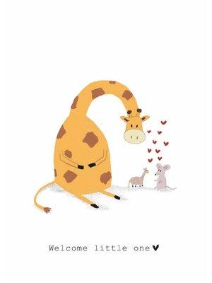 Nadine Illustraties Kaart - Welcome little one - Giraffe en Muis