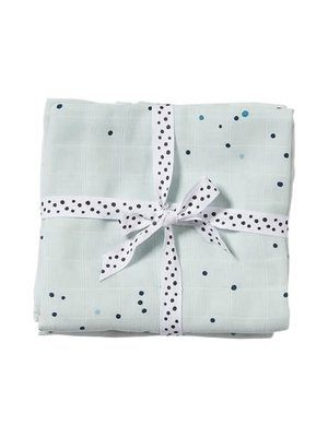 Done by Deer Burp cloth, 2-pack, Dreamy dots, blue