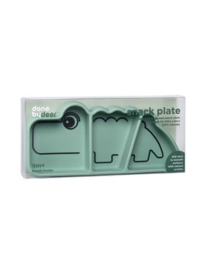 Done by Deer Silicone Stick & Stay snack plate, Croco, green
