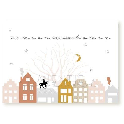 Mientje Frobel Ansichtkaart Sinterklaas - Zie de maan schijnt door de bomen