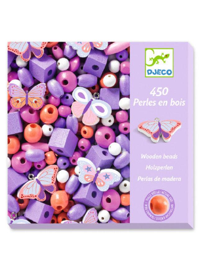 Kralenset - Houten kralen, vlinders - DJ09810
