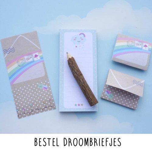 Droomdeurtjes Droombriefjes met houten boomstam potlood