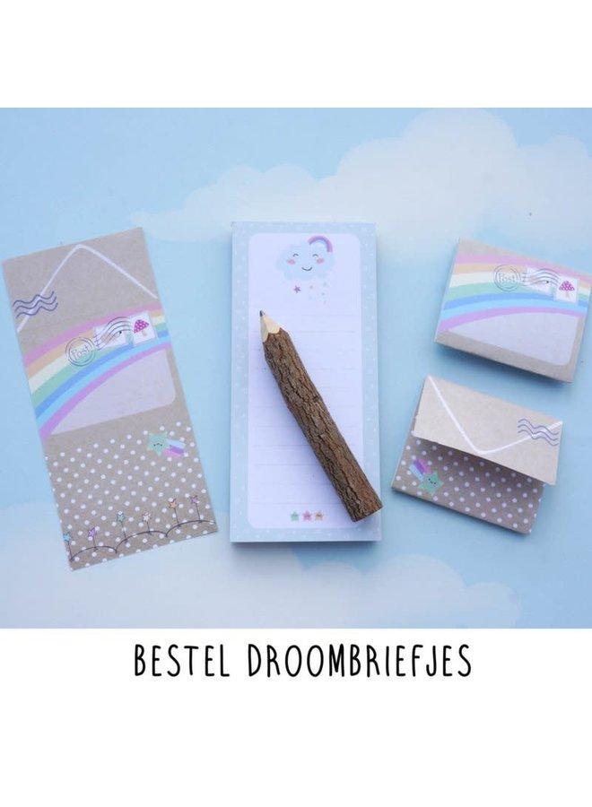 Droombriefjes met houten boomstam potlood