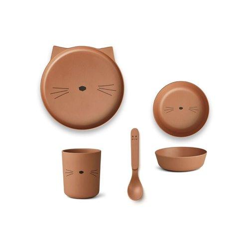 Liewood Bamboo Tableware Box Set - Cat terracotta