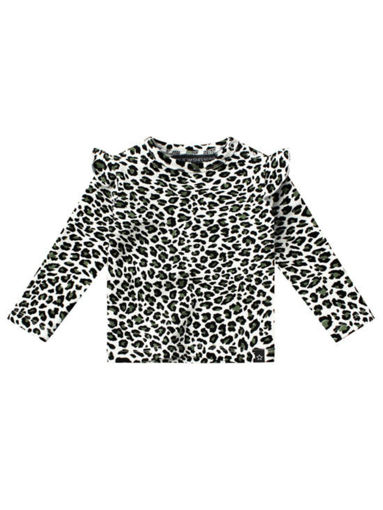 Your Wishes Leopard Camo | Ruffle Shoulder Top