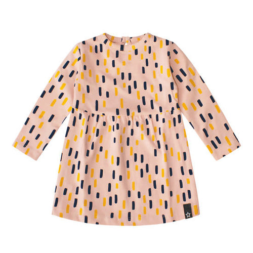 Your Wishes Pleated Dress LS - Multi Strokes