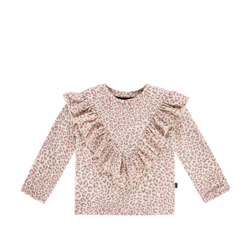 House of Jamie Front Ruffled Tee - Orchid Leopard