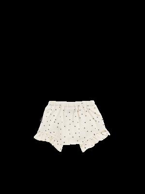 House of Jamie Ruffled Shorts - Cream Black Dots