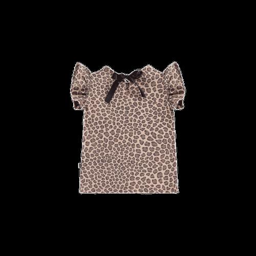 House of Jamie Ruffled Tee - Caramel Leopard