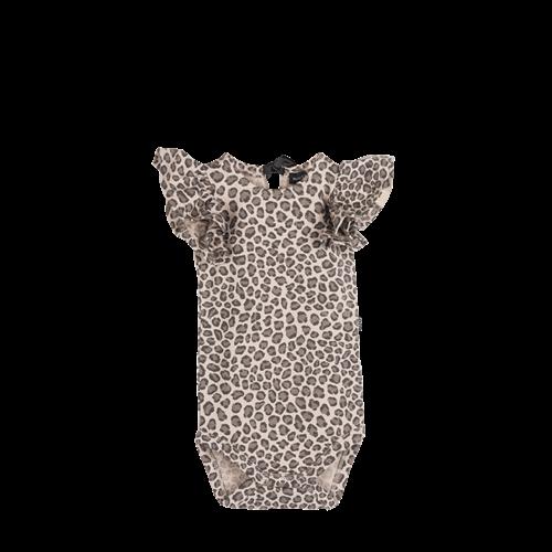 House of Jamie Ruffled Bodysuit - Caramel Leopard