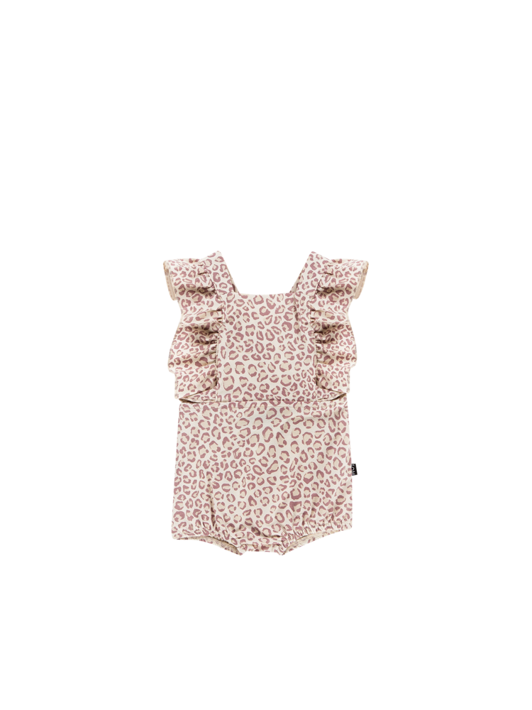 House of Jamie Baby Ruffled Salopette - Orchid Leopard