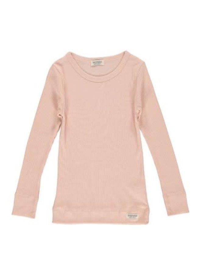 Plain Tee LS, Modal - T-shirts - Rose - 0410