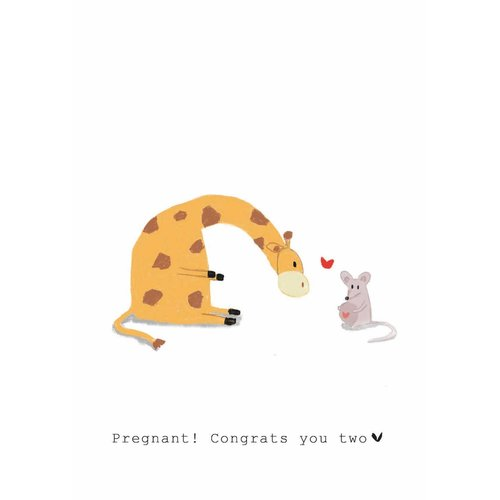 Nadine Illustraties Kaart - Pregnant! Congrats you two - Giraffe & Muis