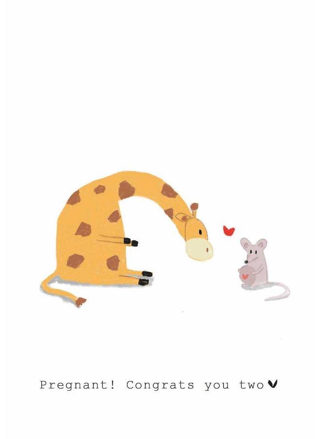 Kaart - Pregnant! Congrats you two - Giraffe & Muis - GM009