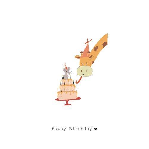 Nadine Illustraties Kaart - Happy Birthday - Giraffe & Muis