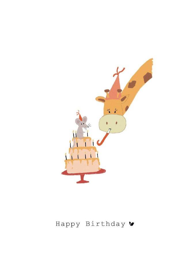 Kaart - Happy Birthday - Giraffe & Muis - GM010