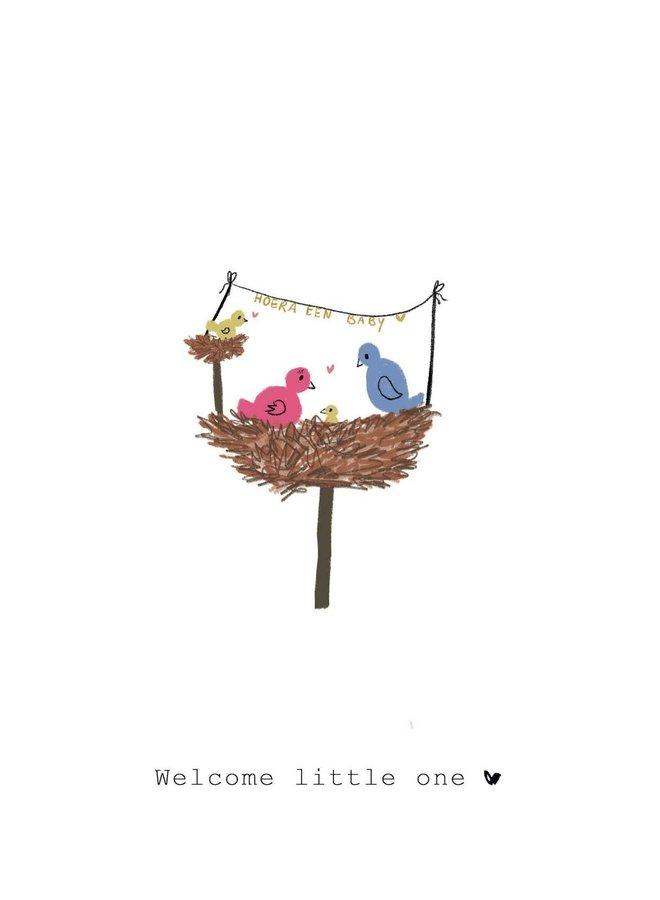Kaart - Welcome Little One - Vogelnest - A0020