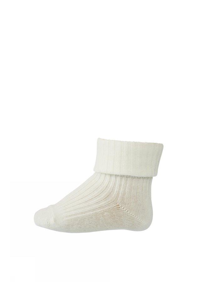 Cotton Rib Baby Socks - 432 - Snow White