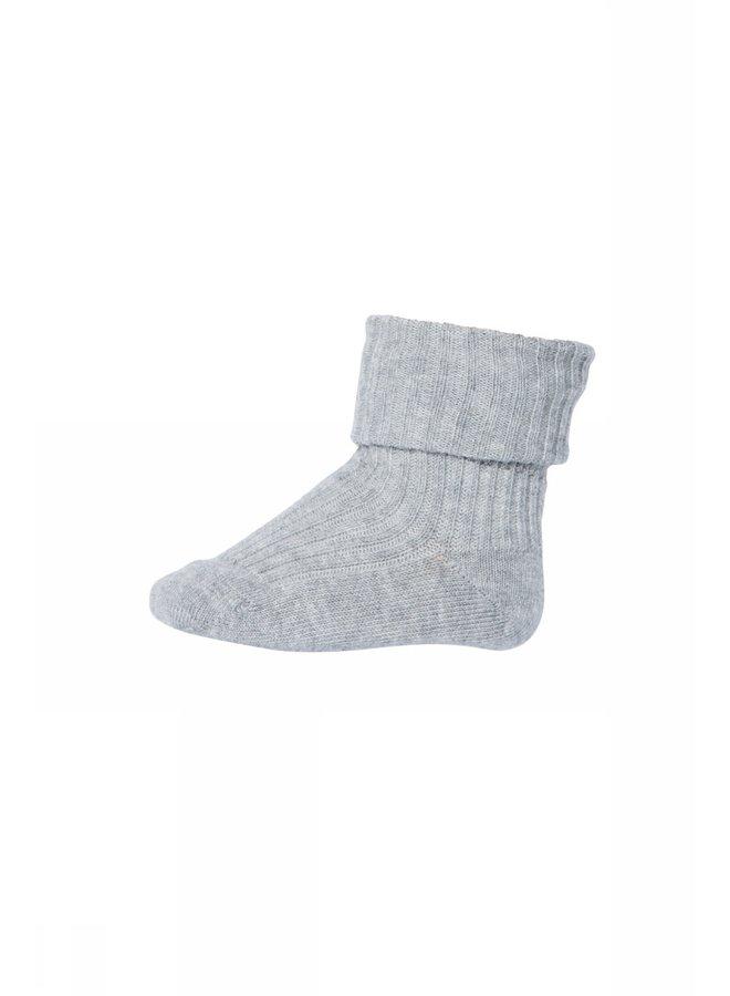 Cotton Rib Baby Socks - 491 - Grey Marl.