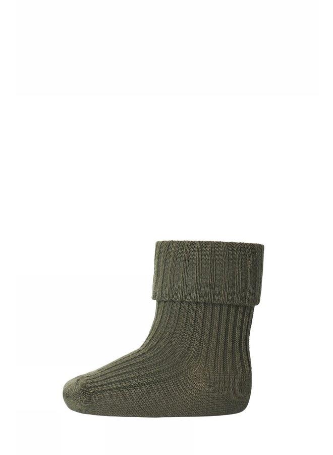 Cotton Rib Baby Socks - 3033 - Army