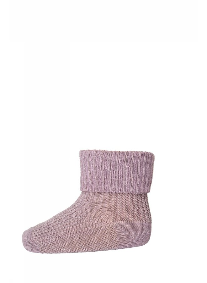 Cotton Rib Baby Socks - 188 - Wood Rose