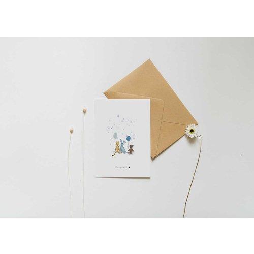 Nadine Illustraties Kaart - Congrats - Blue