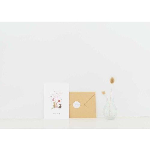 Nadine Illustraties Kaart - Congrats - Roze