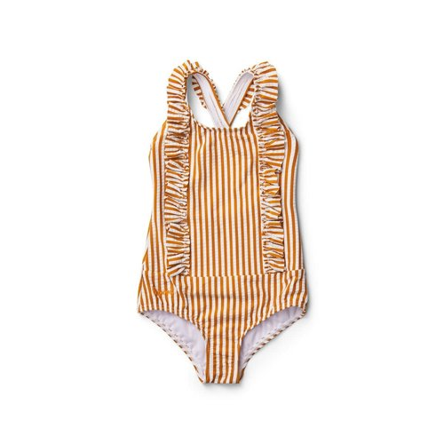 Liewood Moa Swimsuit Striped - Mustard/White