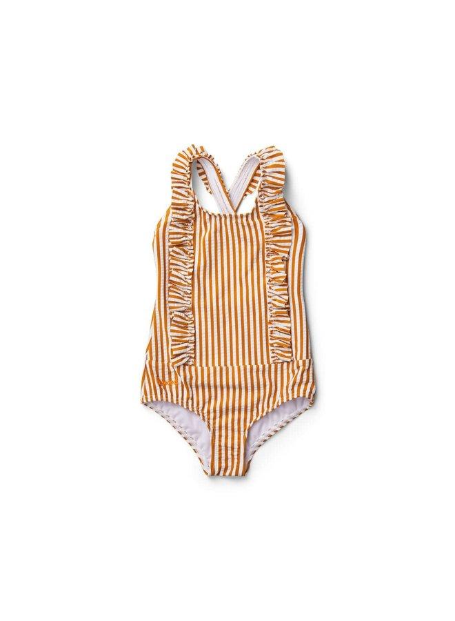 Moa Swimsuit Striped - Mustard/White
