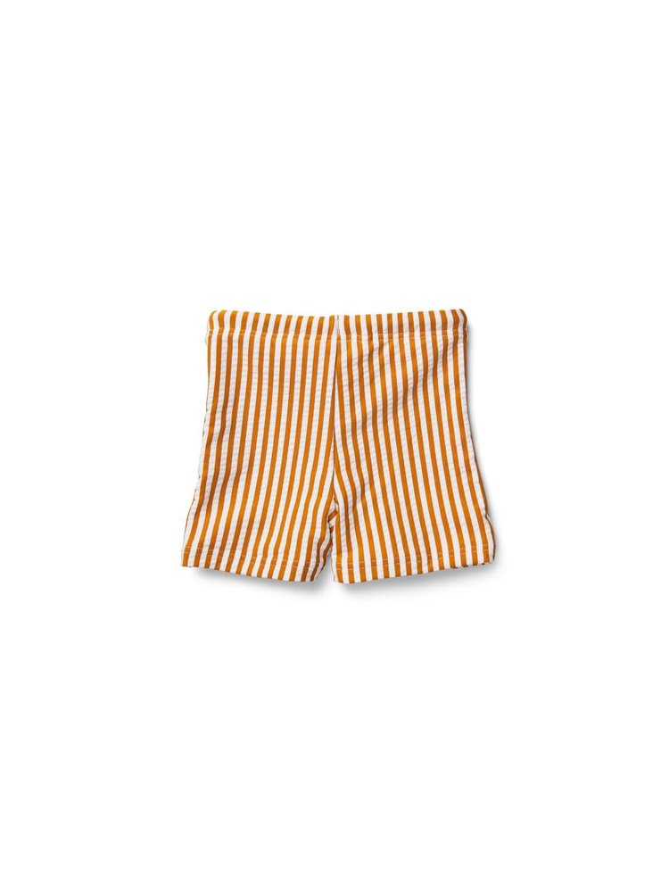 Liewood Otto Swimshort Striped - Mustard/White