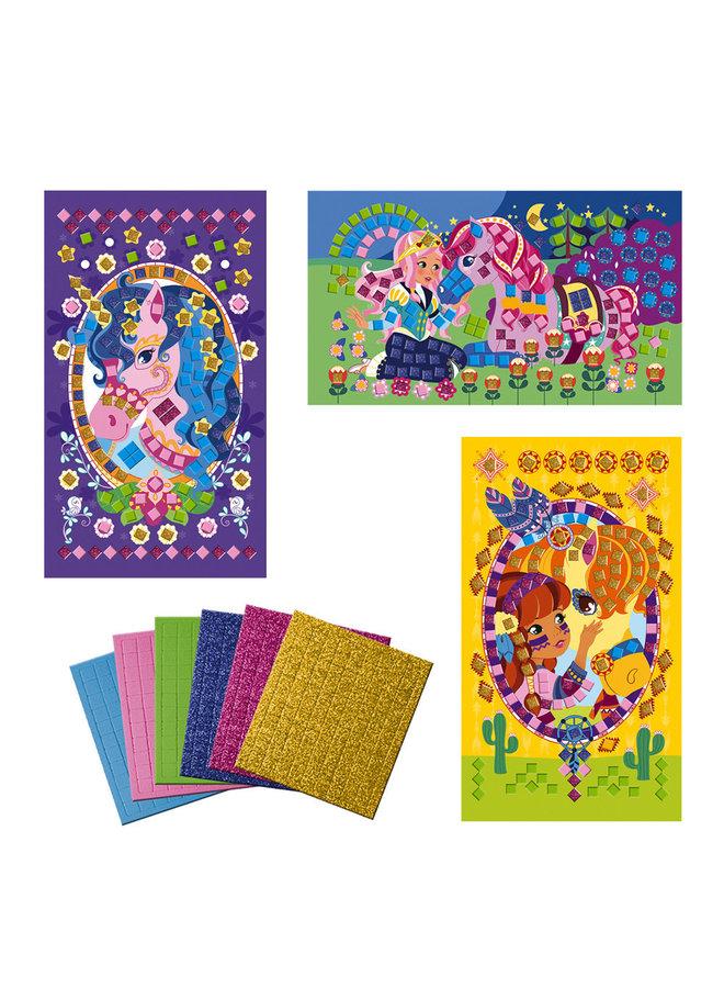 Janod - Atelier - Mosaic foam pony's en eenhoorns