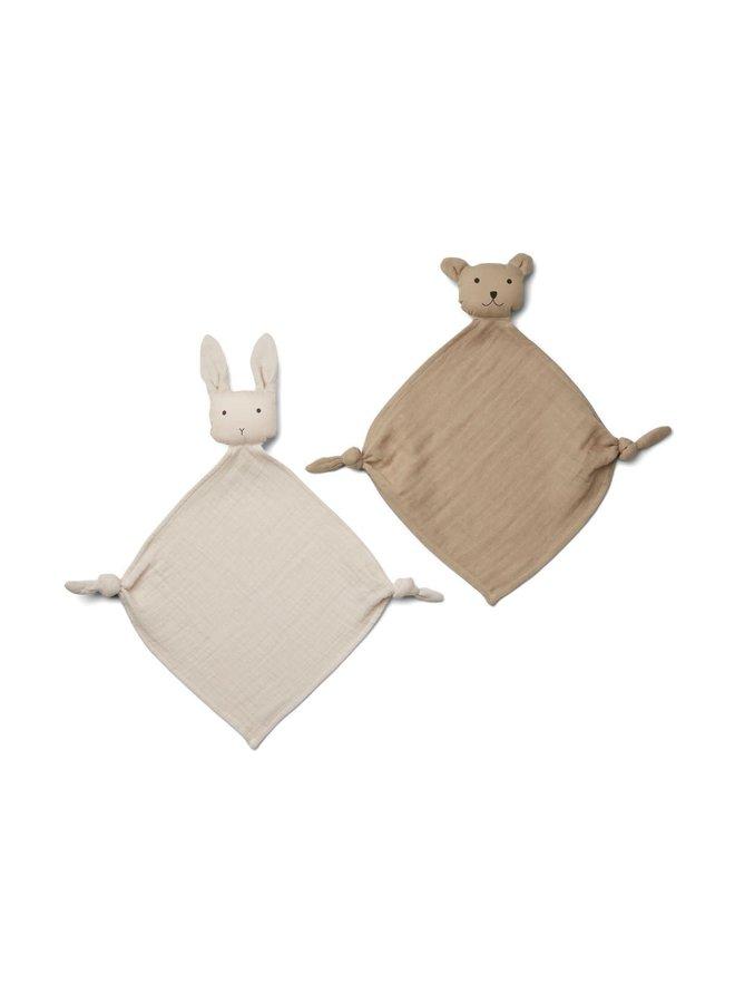 Yoko Mini Cuddle Cloth 2-pack - Sandy/stone beige