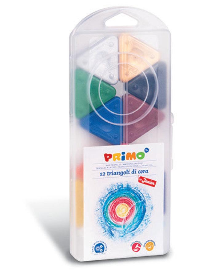 Primo - 12 Driehoek waskrijt zijde 50mm in box