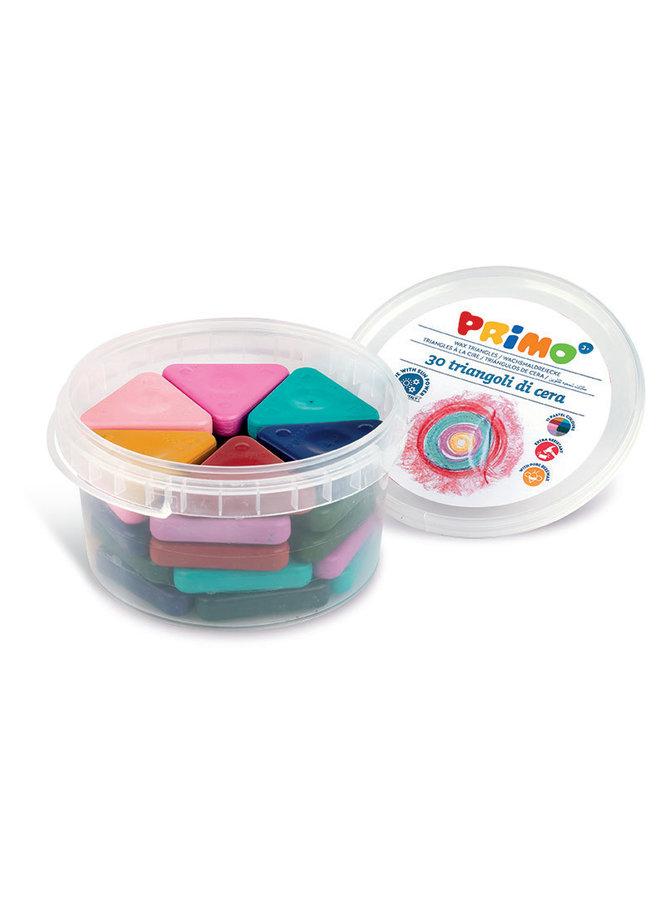 Primo - 30 Driehoek waskrijt zijde 50mm in pot (pastel)