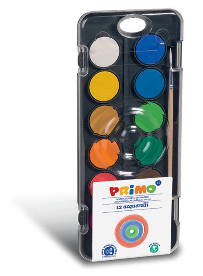 Primo - Aquarelverf tablet/penseel ø30mm (12 kleuren)