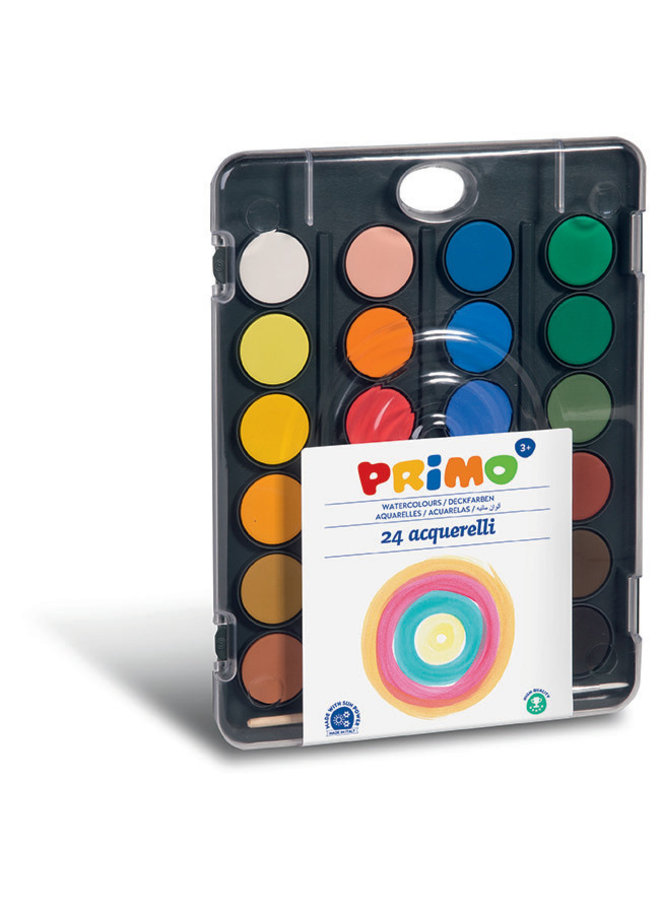 Primo - Aquarelverf tablet/penseel ø30mm (24 kleuren)