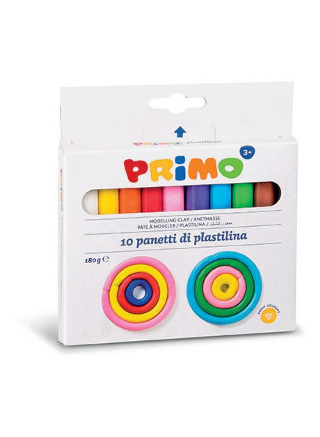 Box met 10 kleuren modelleerklei 180gr
