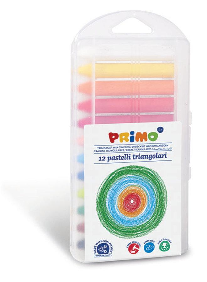 Primo - 12 Waskrijt Supersoft 3-zijdig in box