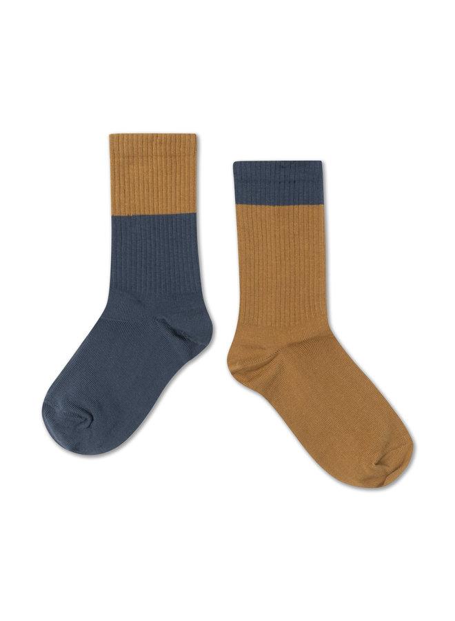 Socks, Dark Navy Golden Block