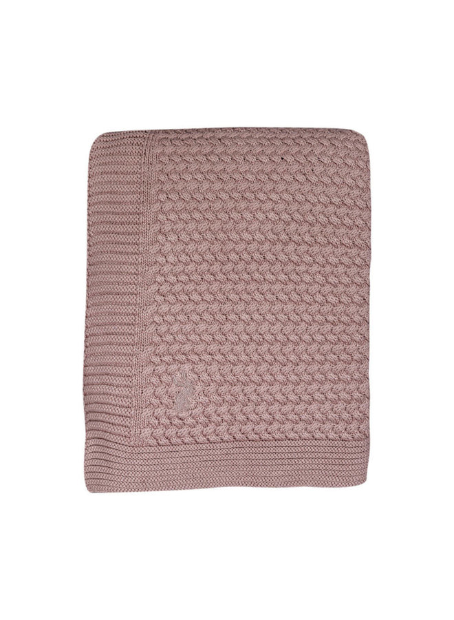 Gebreide wieg deken - Pale Pink