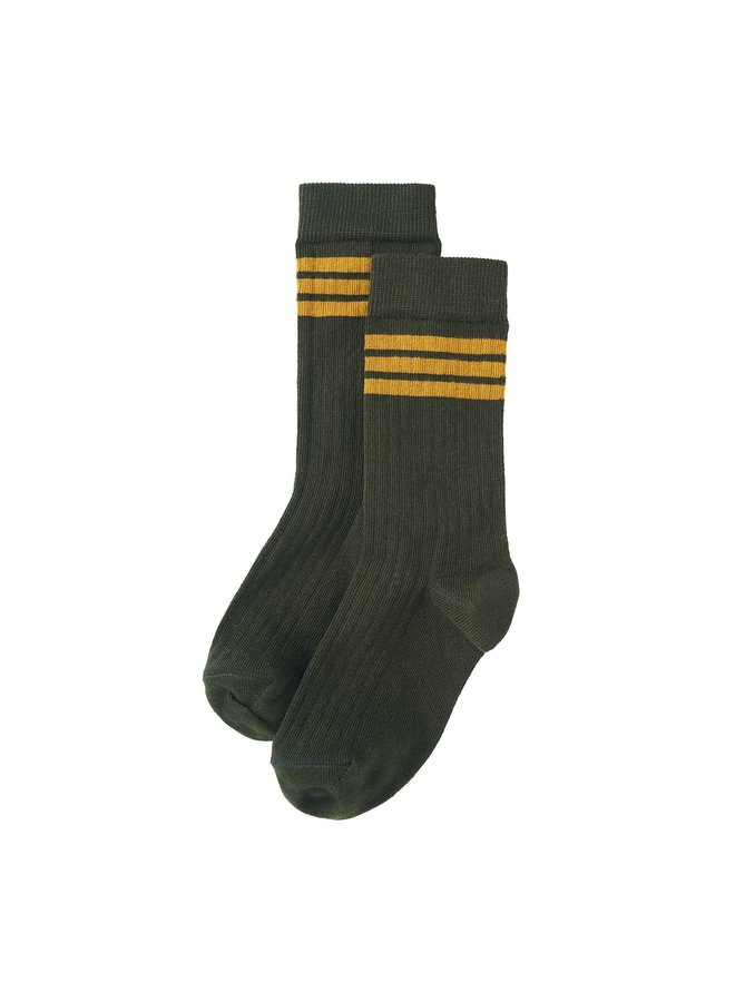 Rib Socks Forest Night / Ochre